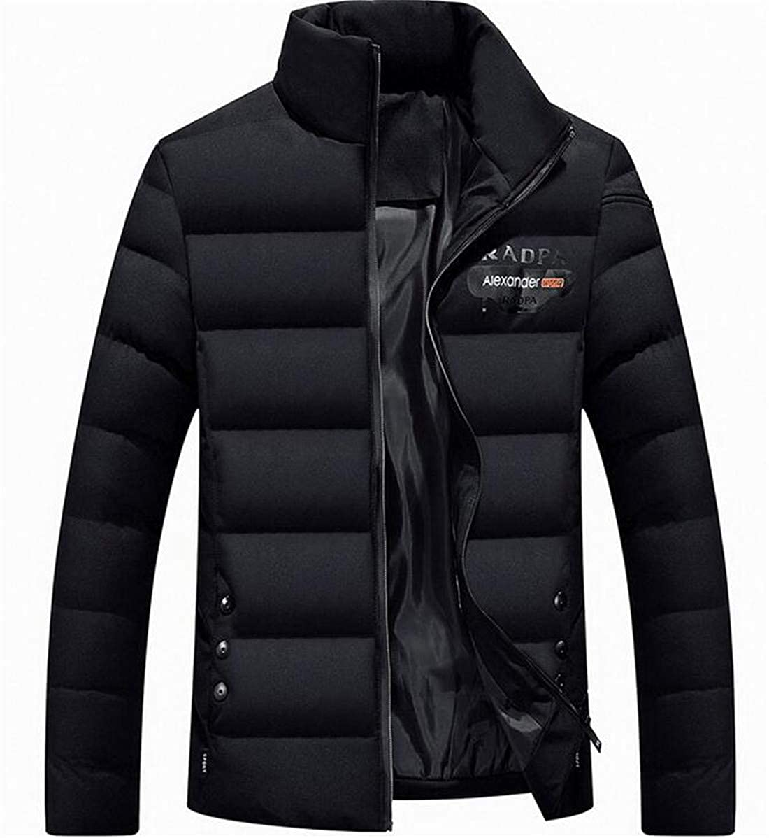 X-Future Mens Thicken Warm Stand Collar Slim Fit Quilted Puffer Down Jacket