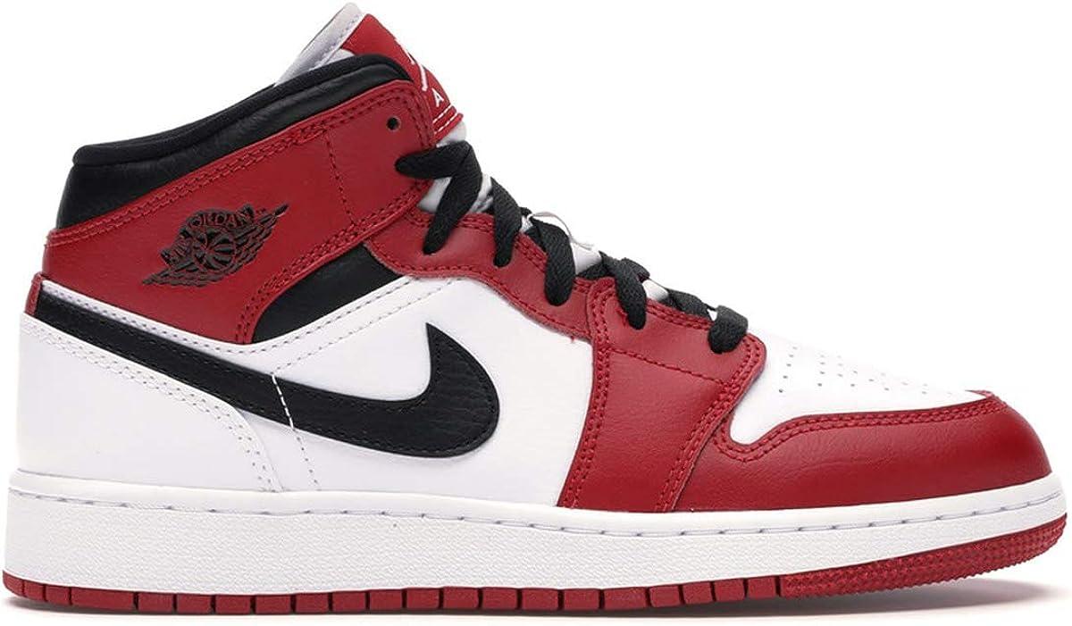 GS 554725-173 Size 7 White//Gym Red-Black Jordan Big Kids Shoes Nike 1 Mid Chicago