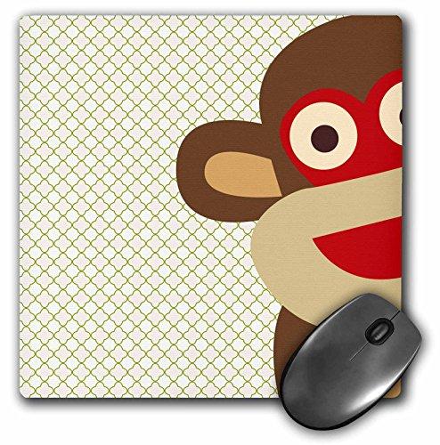 3dRose LLC 8 x 8 x 0.25 Inches Mouse Pad, Sock Monkey Peeking Around Corner (mp_63511_1)