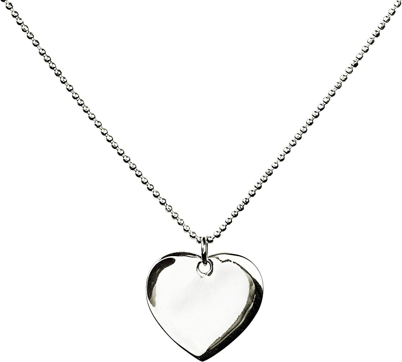 SILBERMOOS Anh/änger mit Kette Gravur-Platte Herz zum Gravieren flach gl/änzend diamantierte Kugelkette Sterling Silber 925