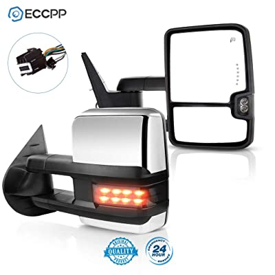 ECCPP Chrome Side Mirrors for 07-14 Sierra Towing Power Heated Signal Pair: Automotive [5Bkhe1407659]