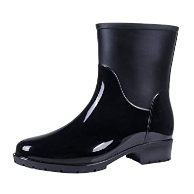 f4bd51e454a Evshine Women s Mid Calf Rain Boots Lady Anti-Slip Rain Boot Waterproof  Rubber Booties