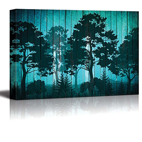 Illustration of Silhouette Trees in a Forest Over Blue Wood Panels
