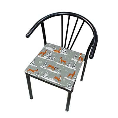 """Bardic HNTGHX Outdoor/Indoor Chair Cushion Deer Winter Snowy Tree Square Memory Foam Seat Pads Cushion for Patio Dining, 16"""" x 16"""": Home & Kitchen"""