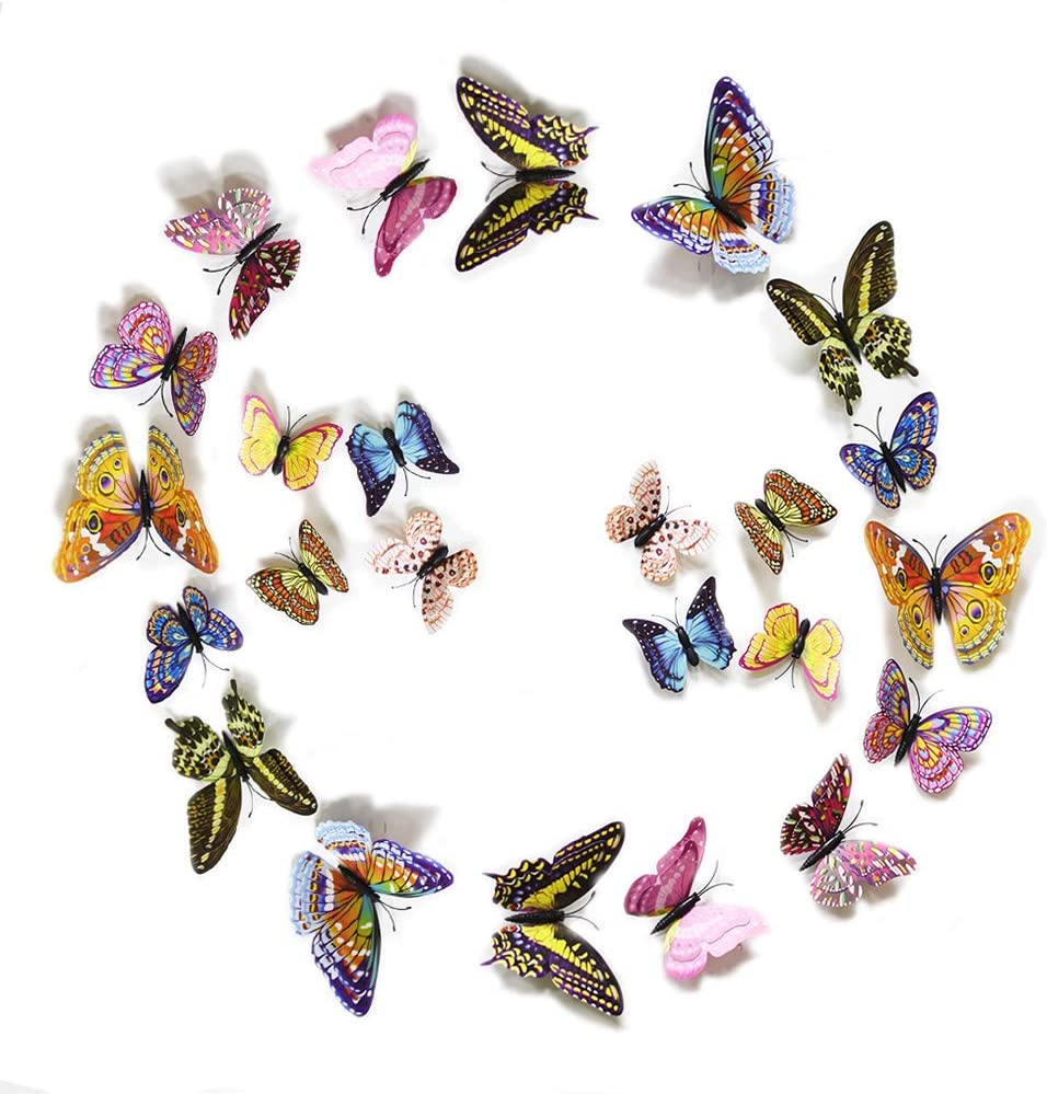 FiveRen 24pcs 3D Luminous Butterfly Double Wings Design Decal Art Wall Stickers Room Magnetic Home Decor