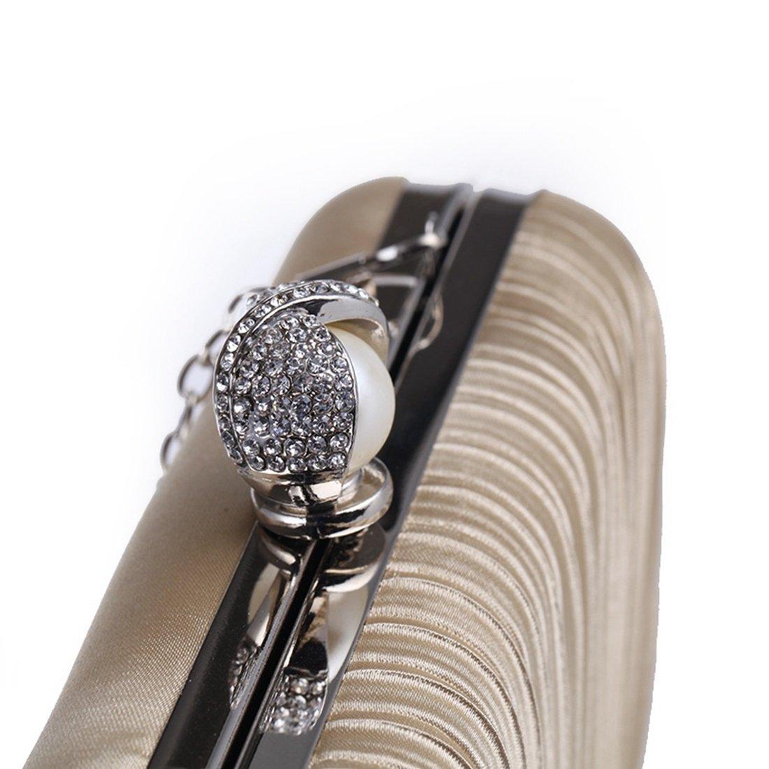 JESSIEKERVIN Frauen Diamant Diamant Diamant Clutch Handtasche Handtasche Mode Abendtasche Plissee Stoff Handwerk Tasche (Farbe   Apricot) B07FSDV2P6 Clutches Kaufen ac218d