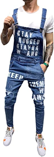 cheelot Men Slim Fitted Ripped Holes Overall Bib Pants Jumpsuit Jeans Pants