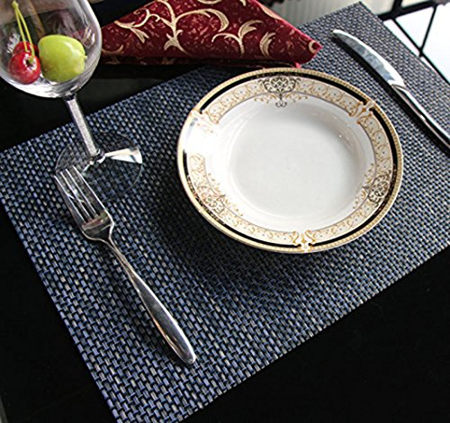 - Spring Dining Table Mat Kitchen Woven Plastic Rectangular Placemats Set Plate Non Slip Wipeable Washable PVC Wine Food Placemats Folding Mat Green Reusable Modern Water Heat Resistant (Blue)
