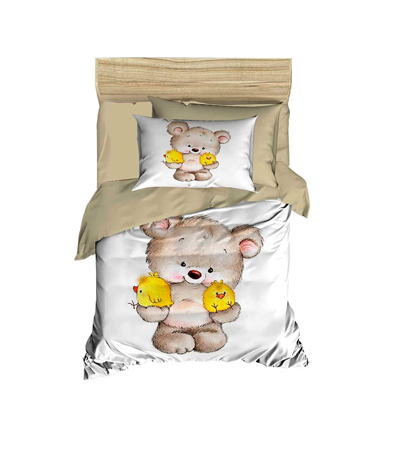 100% Cotton Teddy Bear und Chicks Themed Nursery Baby Bedding Set, Toddlers Crib Bedding für Baby Boys und Girls, Duvet Cover Satz mit Comforter, 5 Pieces