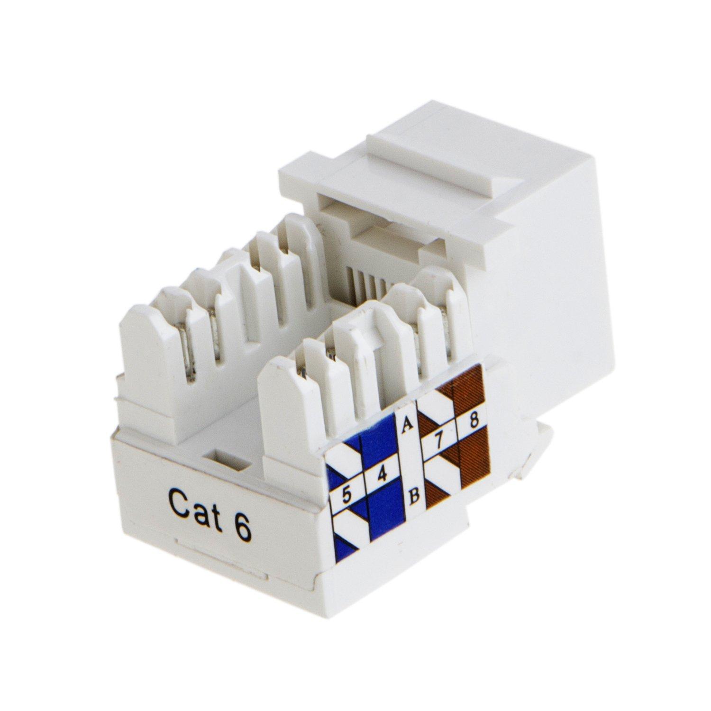 Amazon.com: CableCreation 5-PACK Cat6/RJ45 Keystone module Connector ...