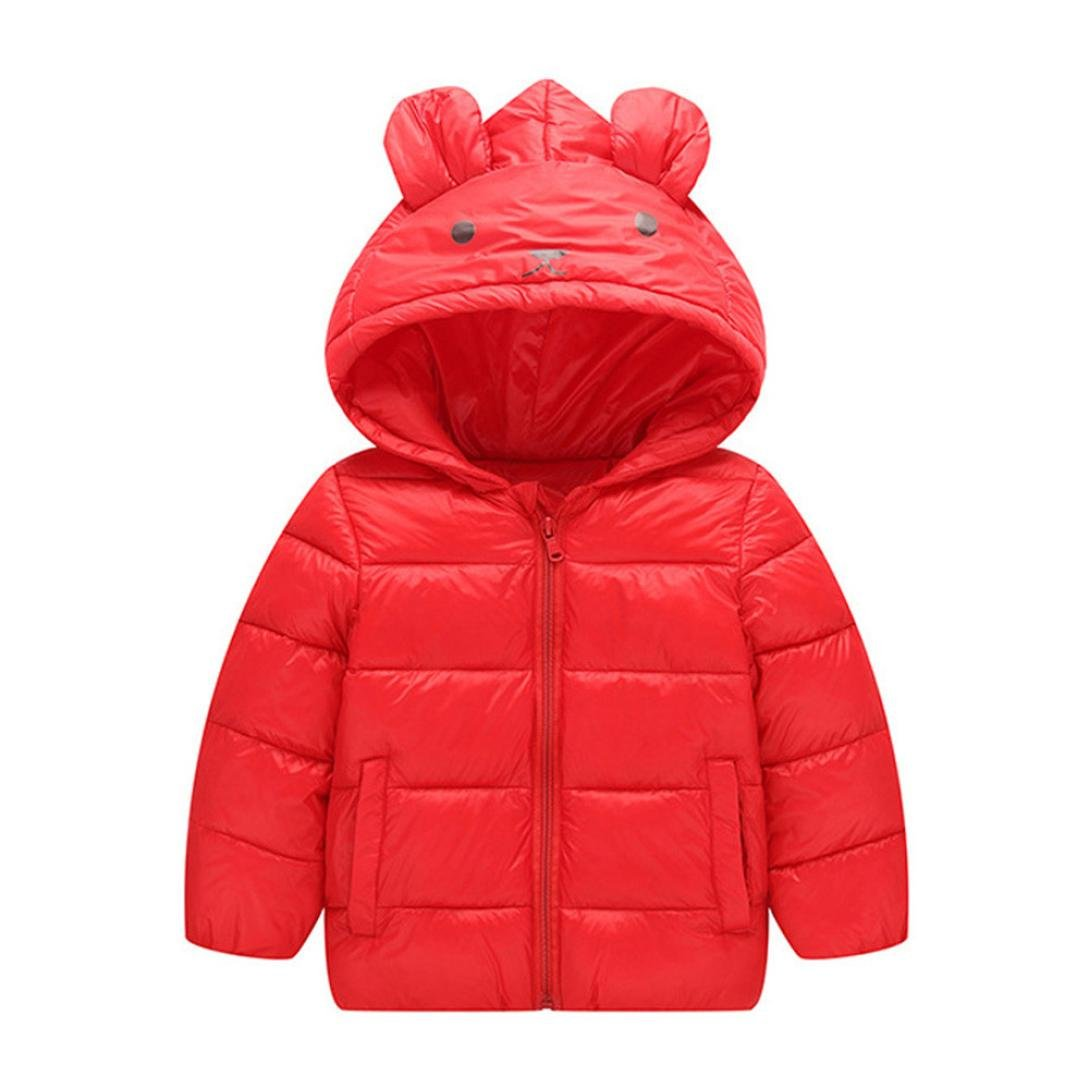 Kids Cartoon Hooded Down Jacket Winter Warm Parka Outwear Coat by CSSD (4T, Red)