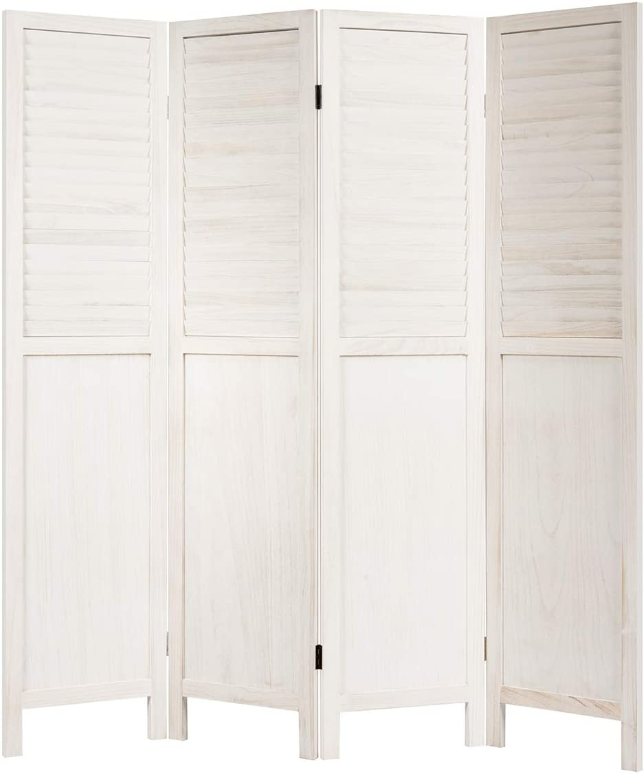 Giantex 4 Panel Wooden Room Divider Screen, Portable Folding 6 ft Partition Screen, Wood Panel Divider Wall Divider, Solid Folding Privacy Screens for Home Office Divider Screen (White)