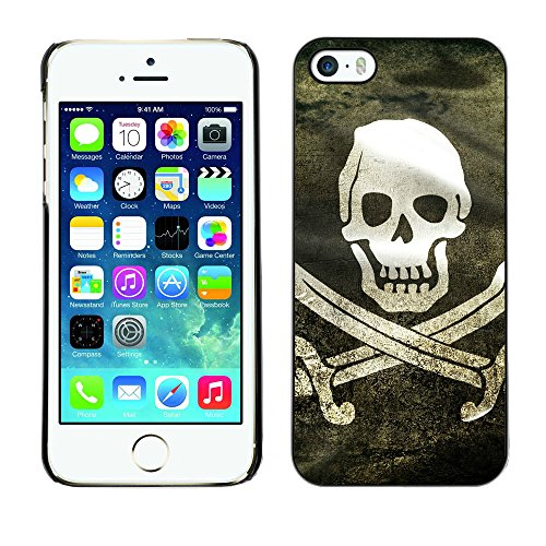 OMEGA Case / Apple Iphone 5 / 5S / Pirate Grunge Flag / Cuero PU Delgado caso Billetera cubierta Shell Armor Funda Case Cover Wallet Credit Card