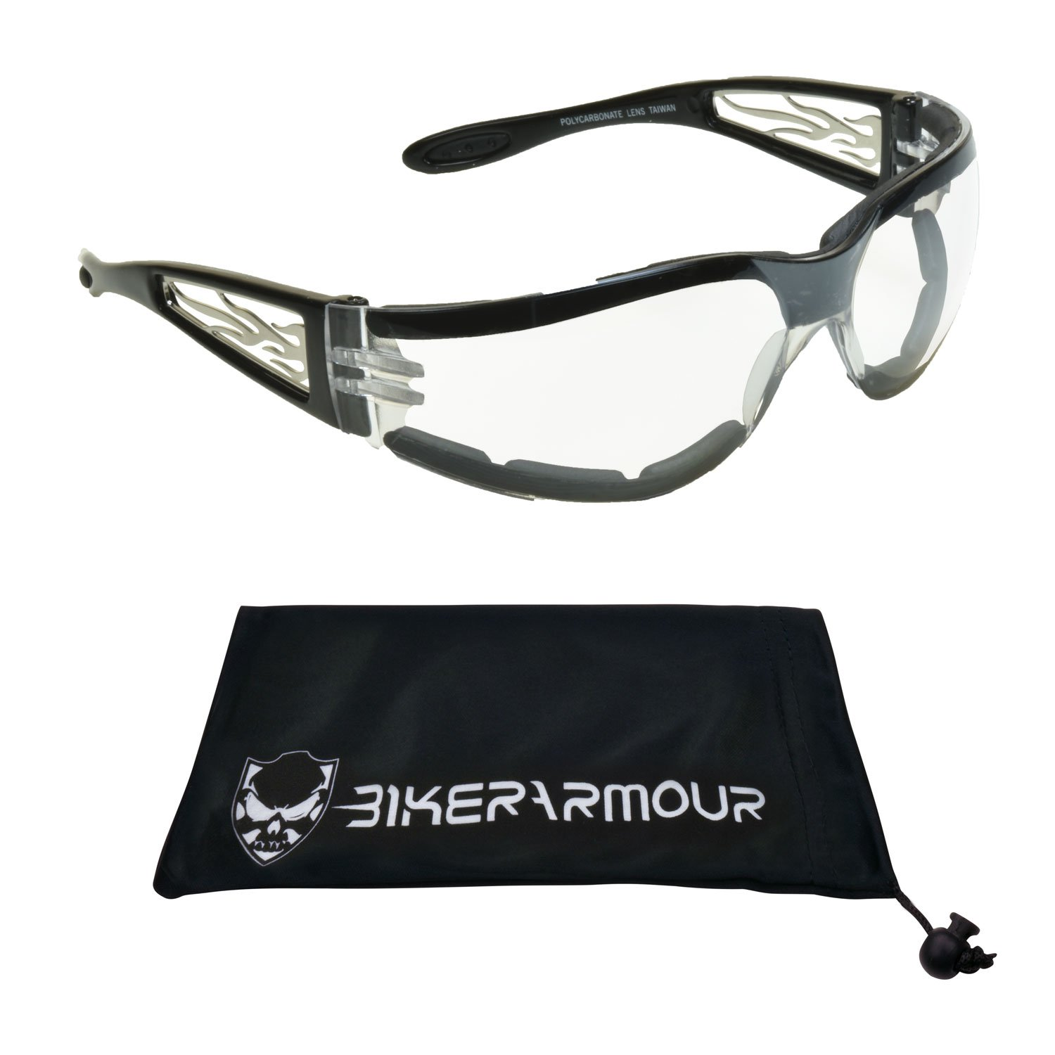 Clear Tinted Motorcycle Glasses Foam Padded for Men and Women. Clear Safety Polycarbonate Lenses and Vented EVA Foam Cushion