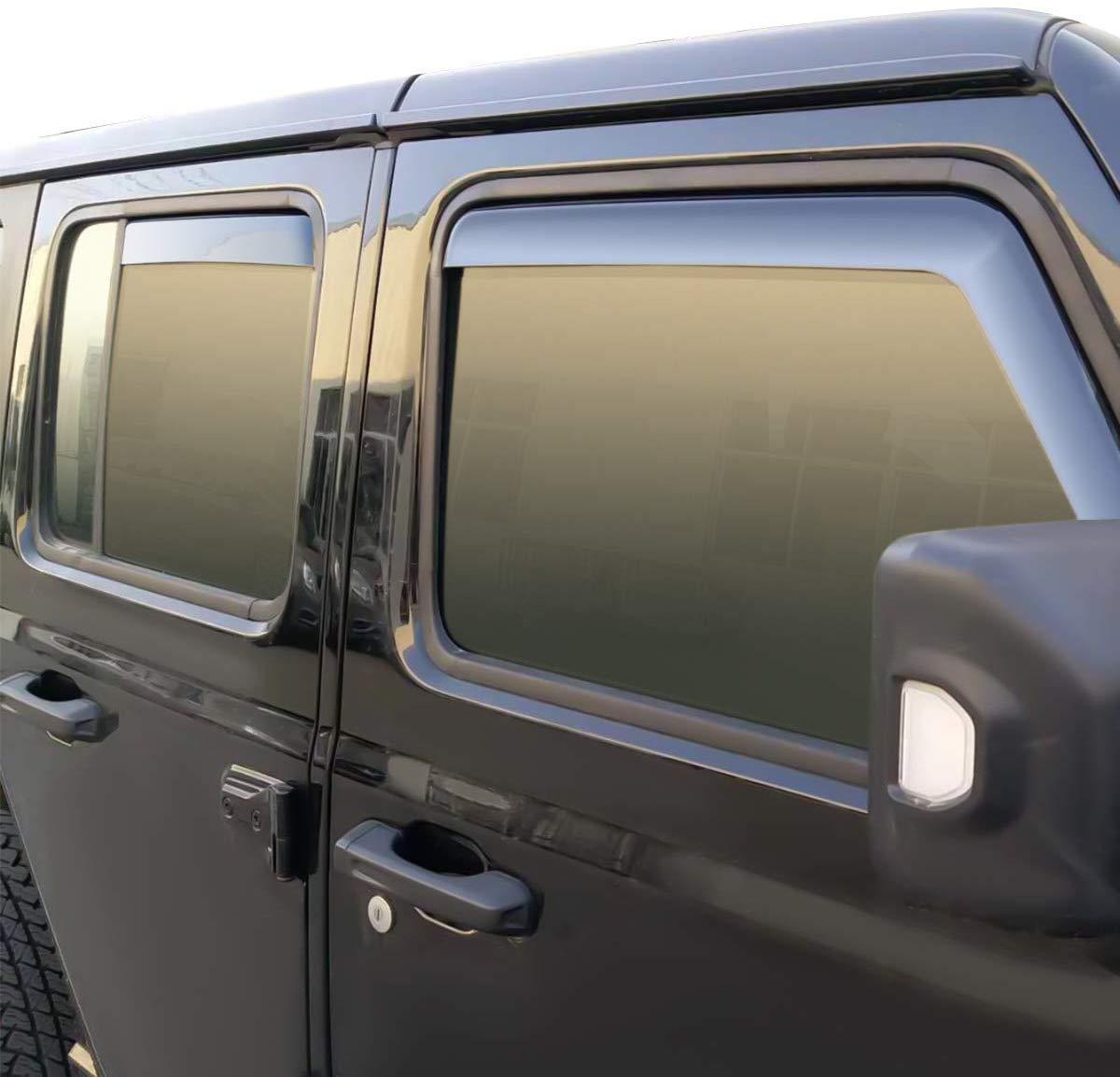 L/&U En la Ventana Visor Canal Deflectores de Ventanas Laterales Parabrisas Lluvia y Viento Guardia Parasol Sombra para Jeep Wrangler JK 2007-2017,2door