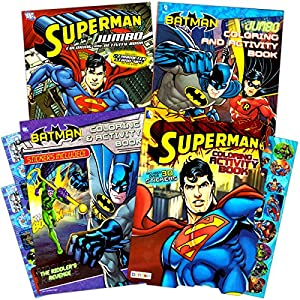 Justice League Batman And Superman Coloring Book Super Set With Stickers 4 Books Over 250 Pages Total
