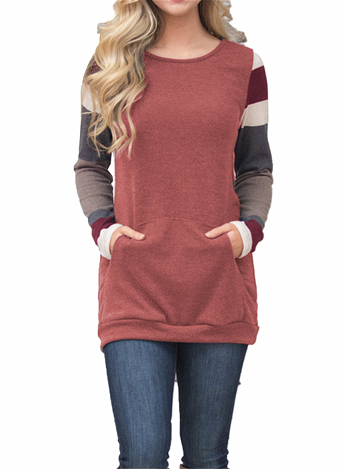 FIYOTE Womens Color Block Long Sleeve Tunic Sweatshirt Tops with Kangaroo Pocket
