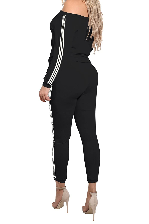 TrinhGuo Womens Off Shoulder Two Piece Tracksuit Outfits Bodycon Jumpsuits Sweatsuit Set