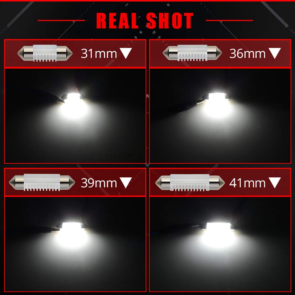31MM DE3175 LED Festoon Bulbs Canbus Error Free 6000K Xenon White 3030 Chipset DE3021 DE3022 DE3023 1.25 LED Bulb For Car Interior Dome Map Lights License Plate Lamps Pack of 6