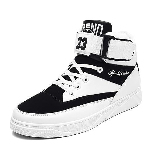 Zapatillas altas Hombre, Baloncesto moda de los hombres zapato zapatillas patín zapato tenis simple antideslizante blanco 39: Amazon.es: Zapatos y ...
