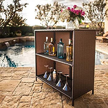 SUNCROWN Outdoor Patio Bar Set (3-Piece) Brown Wicker Furniture: Glass Bar and Two Stools with Cushions - Perfect for Patios, Backyards, Porches, Gardens or Poolside