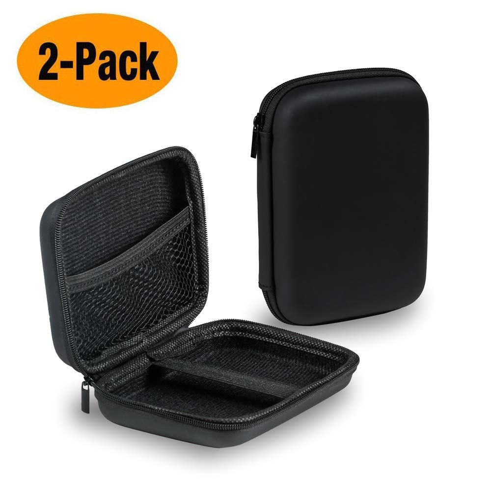 Playmont 2.5 Inch Shockproof and Waterproof Hard Drive Bag Hard Drive Case 2 Pack Multi-Function Storage Carrying Universal Travel Case for Small Electronics and Accessories Black