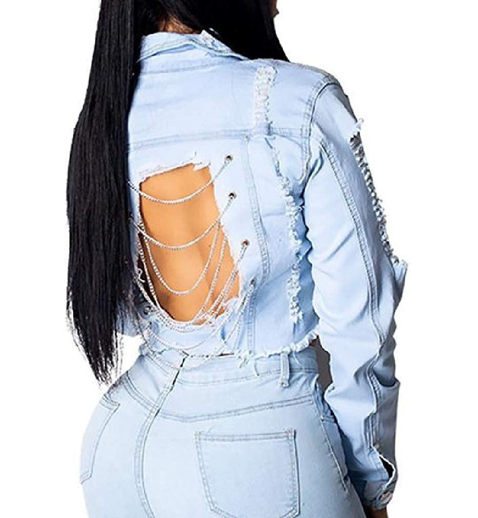 Vska Womens Washed Ripped Distressed Button Down Short Style Denim Jacket