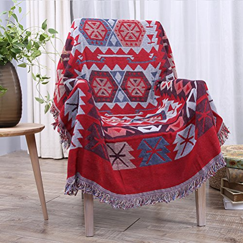 YJBear Double Sided Bohemian Decorative Cotton Woven Throw Blanket with Fringe Tapestry Super Soft Warm Chenille Knitted Sofa Towel Couch Blanket with Tassel Red 35