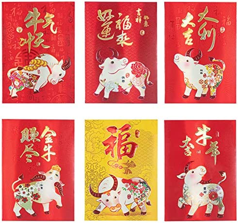 KI Store Chinese Year of Ox Red Envelopes 24pcs 2021 Lunar New Year Red Packet Lai See Hong Bao for Spring Festival Wedding Graduation Birthday and Baby