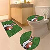 3 Piece Anti-slip mat set Collection Soccer Footbal Player Cartoon Character Kicking Playing Exercising Theme Non Slip Bathroom Rugs