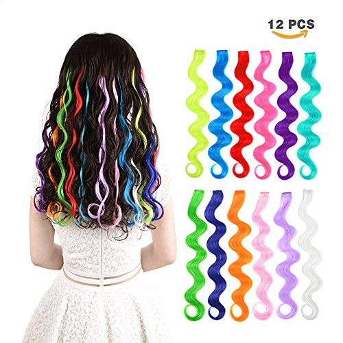 12 Pieces Party Highlights Clip In Colored Hair Extensions For Kids Girls Colorful Hair Extensions 22 Inches Curly Synthetic Hairpieces 12 Multi Colors