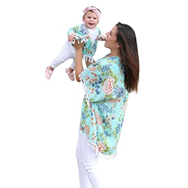 Mommy And Me DressesWomen Baby Girls Flower Shawl Kimono Cardigan Tops MomMe Family Outfits