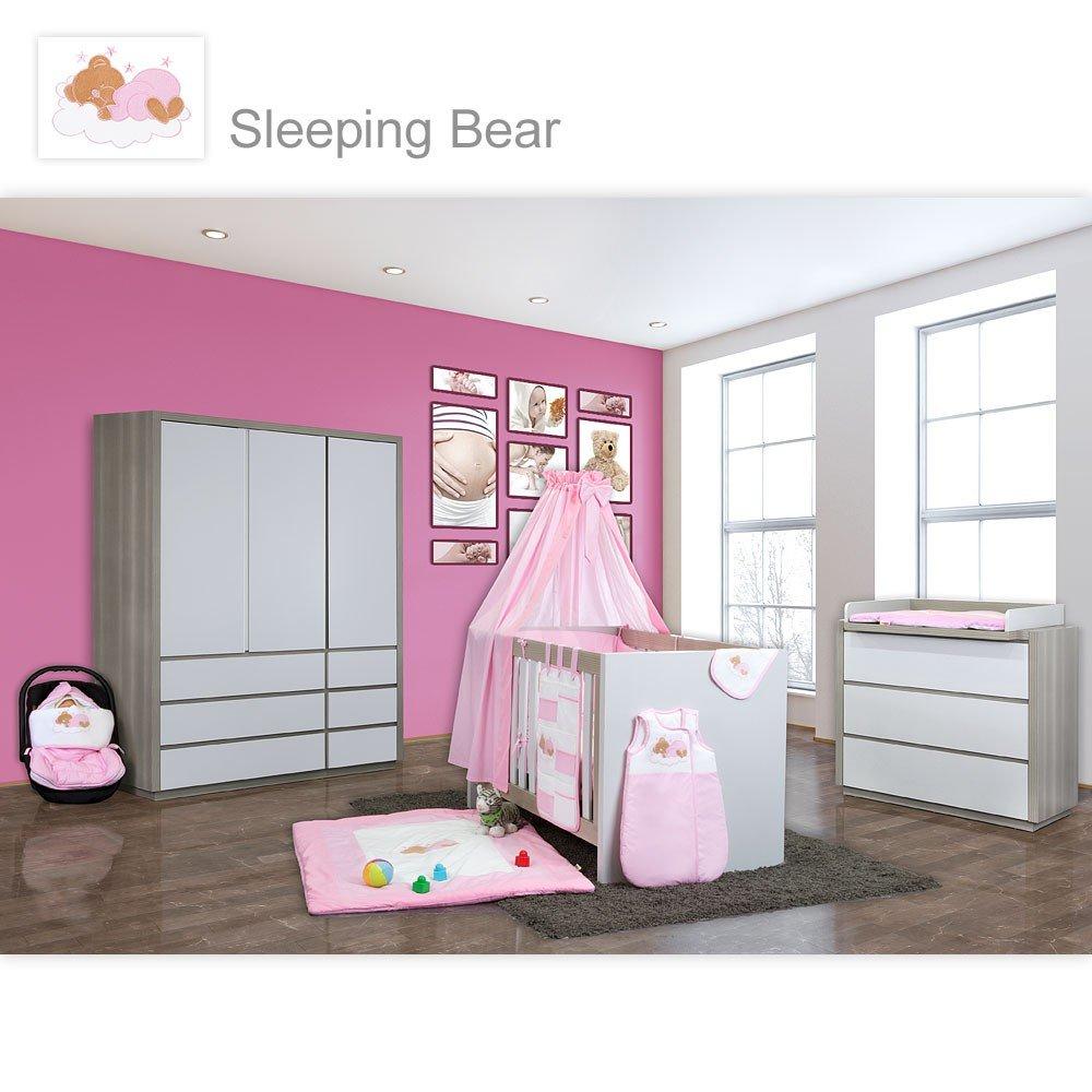 Babyzimmer Atlanta in Akaziengrau 10 tlg. mit 3 türigem Kl. + Sleeping Bear Rosa