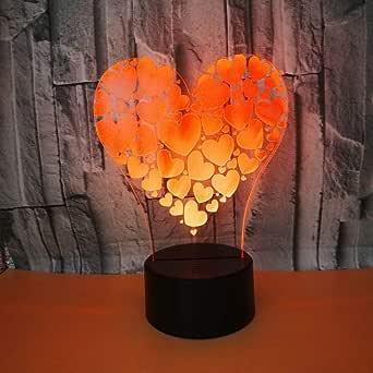 BFMBCHDJ Amor de corazón Lámpara visual 3D Colores Cambiar Ilusión ...