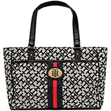 Tommy Hilfiger Logo Stripe Front Pocket Small Shopper Tote Bag Handbag Purse