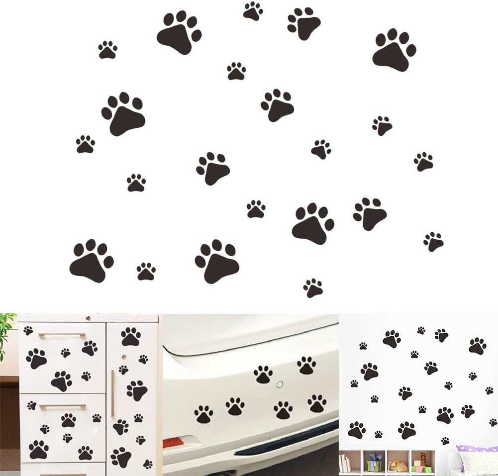 VintageBee Dog Paw Prints Sticker Dog Pup Removable Vinyl Wall Sticker Decoration Décor For Children Nursery Room Home Décor Art Mural DIY(20 PACK