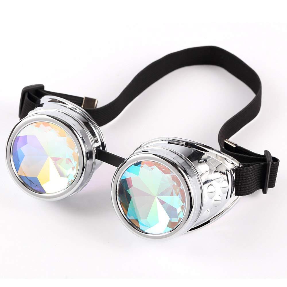 GuanDongQi Steampunk Rave Brille mit Rainbow Crystal Glaslinse