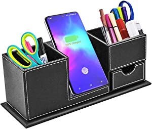 Wireless Charger Desk Stand Organizer, TKDY Qi Charging Station Dock Pen Holder, for iPhone 11 12 Xs MAX XR XS X 8 Plua, Samsung S20 S20+ S10 Note 10 Note 9 (Not Include AC Adapter).
