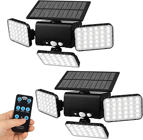 Aqonsie Solar Lights Outdoor, 90 LED Outdoor Solar Security Lights, 3 Head 360 Rotatable Solar Motion Sensor Light with Remote Control 3 Lighting Modes for Garage Porch Garden Path Patio Farm 2Pack