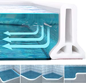 New Collapsible Threshold Water Dam -Bathroom Water Stopper Flood Shower Barrier Dry And Wet Separation Collapsible Shower Threshold(6 foot)