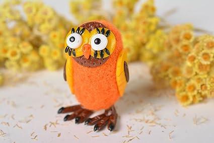 Mano Made Peluche búho en naranja Regalos para niños Casa decorativa de fieltro