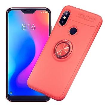 Funda Xiaomi Mi A2 Lite, AhaSky Carcasa con 360 Grados Anillo Kickstand Mi A2 Lite, Shock-Absorción Silicona Case para Xiaomi A2 Lite - Rojo