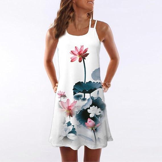 Vestidos de Fiesta Mujer Largos Elegantes Mosstars Mini Vestido Corto Estampado Floral 3D mangaless Verano para Mujer Vestidos De Baño Faldas Vestido Corto ...