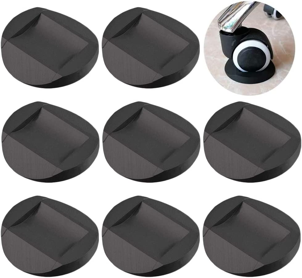 Furniture Cups - Bed Stopper, Rubber Furniture Coasters Cups with Anti-Sliding Floor Grip fits to All Floors & Wheels of Furniture, Sofas, Beds, Chairs, Prevents Scratches, Black (Set of 8)