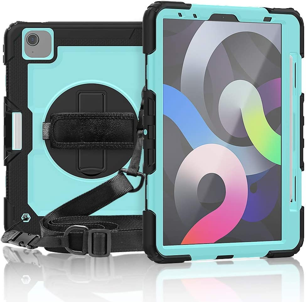 GUOQING Tablet PC Case Bag Sleeves Protective Cover for iPad Pro 11 2020/Air4 10.9 inch Three-Layer Shockproof,360 Degree Swivel Kickstand&Hand Strap & Shoulder Strap PC+Silicone Protective Case