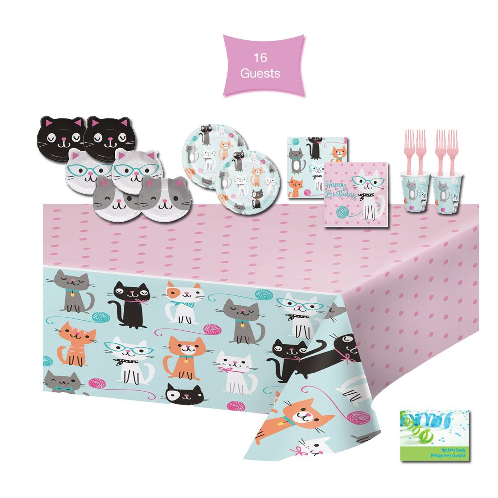 Cat Party Supplies Cat Themed Birthday Party Supplies - Tableware for 16 Guests - Plates, Napkins, Cups, Forks, & Tablecloth