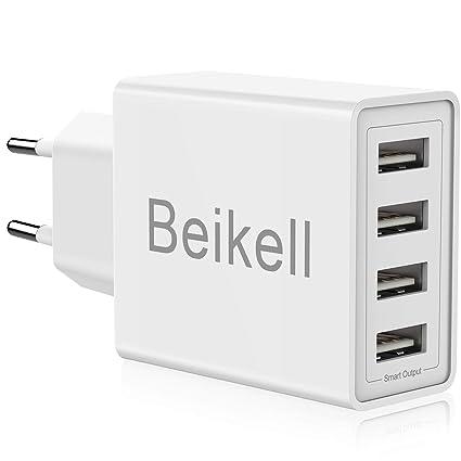 Beikell Cargador USB de Pared con 4 Puertos, 5A/25W Rápido Cargador Móvil, Cargador USB Multipuerto Enchufe Europeo para iPhone X/XS/XS MAX/XR, iPad ...