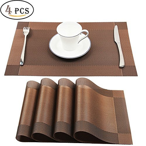 Placemats,Heat-resistant Placemats Crossweave Woven Vinyl Non-slip Insulation Placemat Washable Table Mats Set of 4 (Brown)