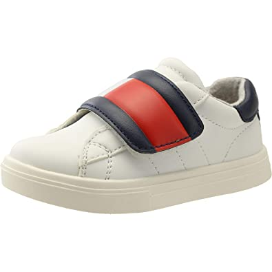 bd34671b0e99f5 Tommy Hilfiger T1B4-30304-0622 White Blue Red Eco Leather Infant Trainers   Amazon.co.uk  Shoes   Bags