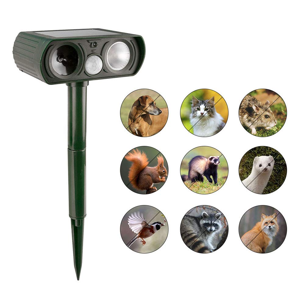 Aopuwoner New Ultrasonic Animal Repeller,Solar Charging and Weatherproof Design, with Flashing LED Lights and PIR Sensor,Farm Garden Yard Repellent, Cats, Dogs, Foxes, Birds, Skunks, Rod (green)